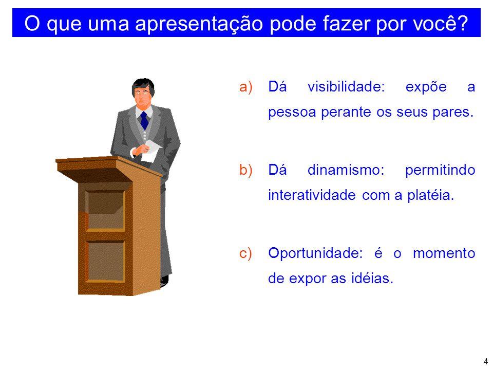 3 OBJETIVOS DO TEMA Apresentar sugestões e dicas básicas sobre como falar em público, destacando: b) Preparação de Transparências c) Apresentação Oral