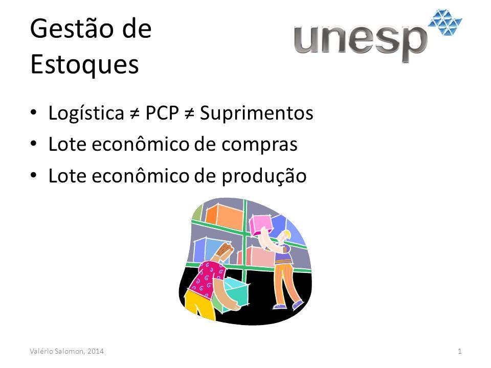 Gestão de Estoques Logística PCP Suprimentos Lote econômico de compras Lote econômico de produção Valério Salomon, 20141