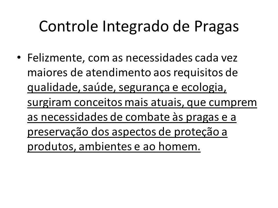 Controle Integrado de Pragas Felizmente, com as necessidades cada vez maiores de atendimento aos requisitos de qualidade, saúde, segurança e ecologia,
