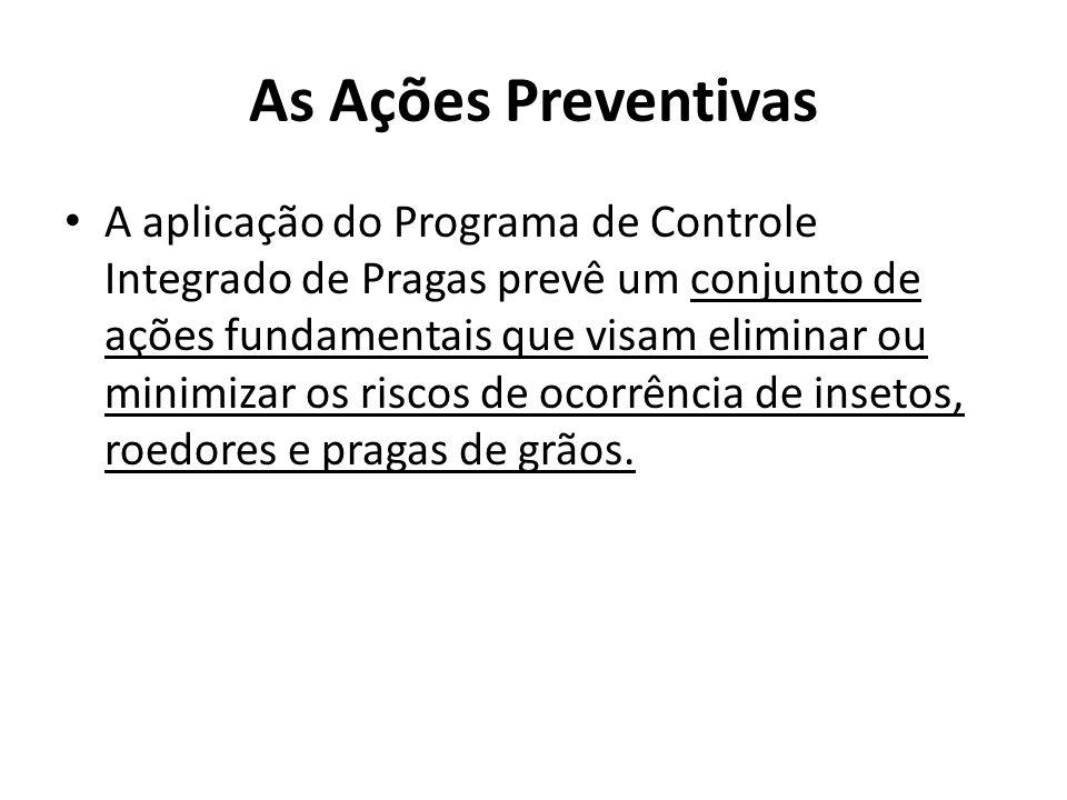 As Ações Preventivas A aplicação do Programa de Controle Integrado de Pragas prevê um conjunto de ações fundamentais que visam eliminar ou minimizar os riscos de ocorrência de insetos, roedores e pragas de grãos.