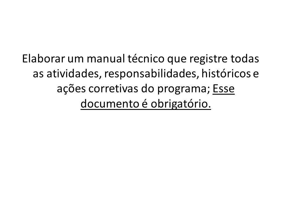 Elaborar um manual técnico que registre todas as atividades, responsabilidades, históricos e ações corretivas do programa; Esse documento é obrigatóri