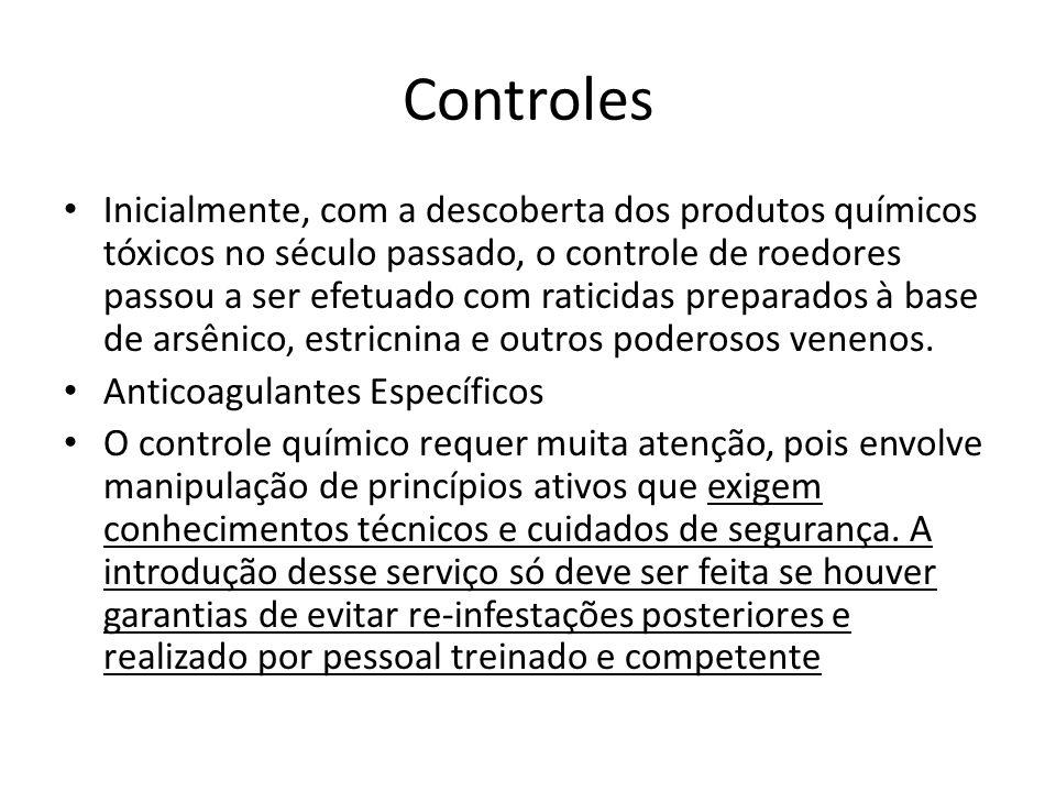 Controles Inicialmente, com a descoberta dos produtos químicos tóxicos no século passado, o controle de roedores passou a ser efetuado com raticidas p