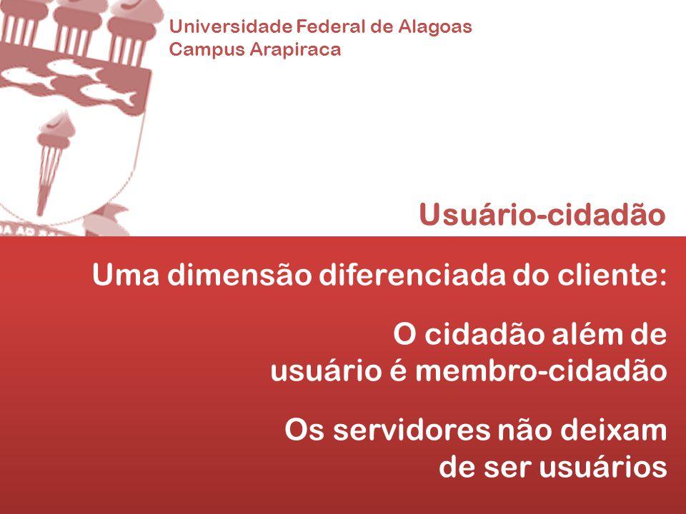 Universidade Federal de Alagoas Campus Arapiraca Usuário-cidadão Uma dimensão diferenciada do cliente: O cidadão além de usuário é membro-cidadão Os s