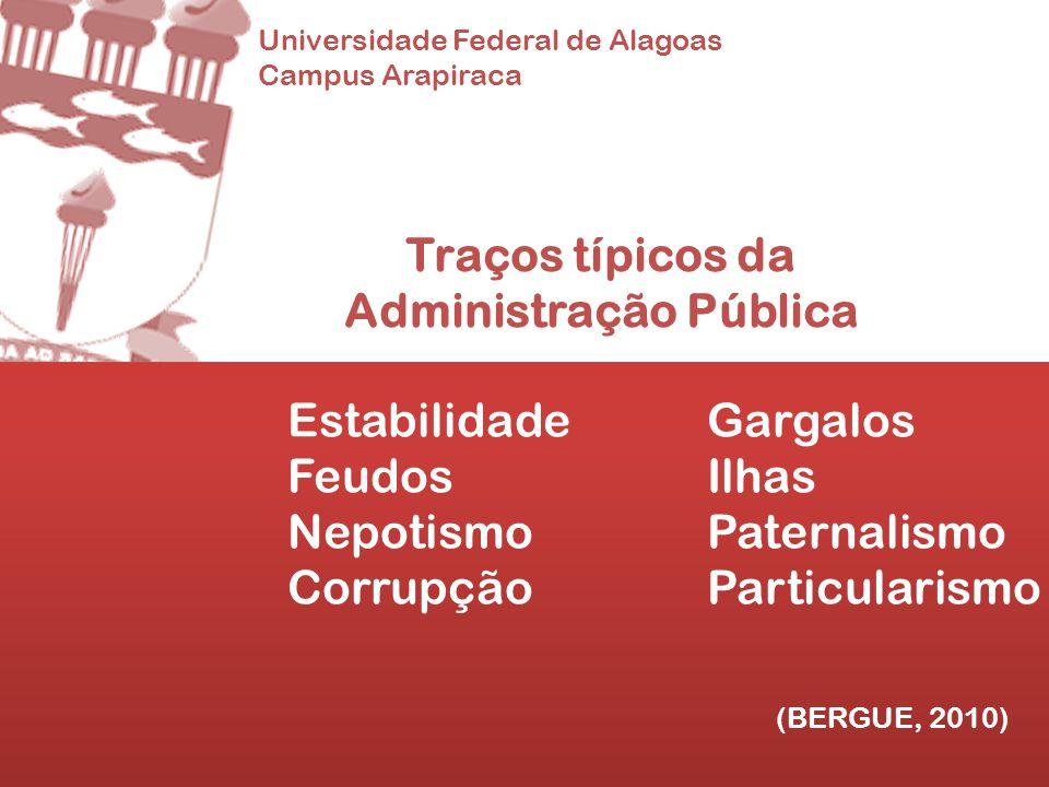 Universidade Federal de Alagoas Campus Arapiraca Traços típicos da Administração Pública EstabilidadeGargalos FeudosIlhas NepotismoPaternalismo Corrup