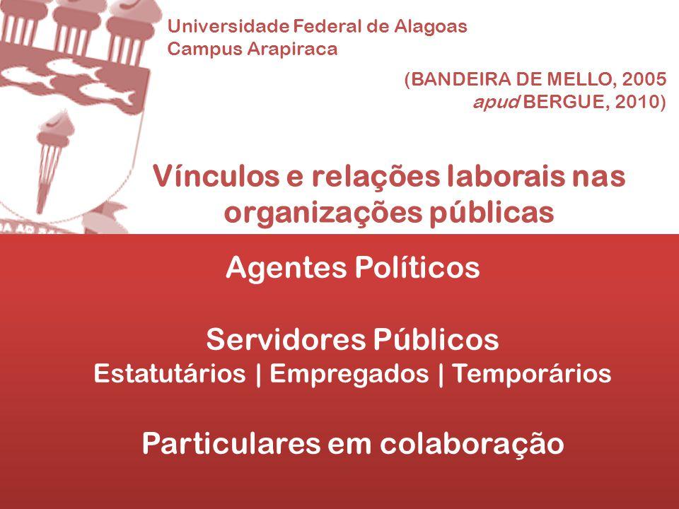Universidade Federal de Alagoas Campus Arapiraca Vínculos e relações laborais nas organizações públicas Agentes Políticos Servidores Públicos Estatutá