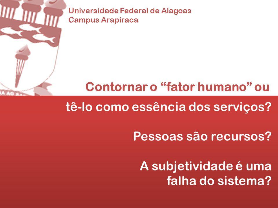 Universidade Federal de Alagoas Campus Arapiraca Contornar o fator humano ou tê-lo como essência dos serviços? Pessoas são recursos? A subjetividade é