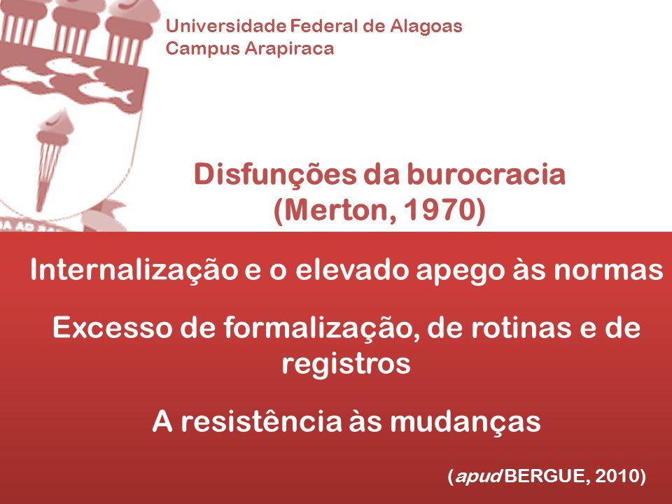 Universidade Federal de Alagoas Campus Arapiraca Disfunções da burocracia (Merton, 1970) Internalização e o elevado apego às normas Excesso de formali