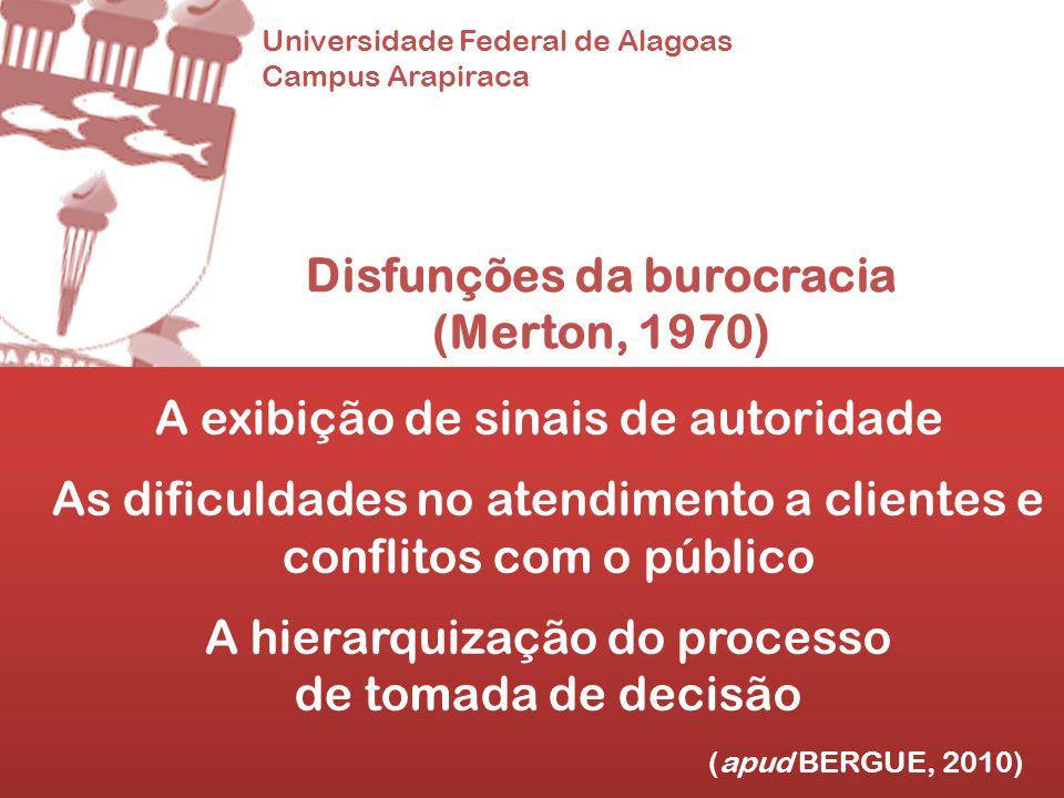 Universidade Federal de Alagoas Campus Arapiraca Disfunções da burocracia (Merton, 1970) A exibição de sinais de autoridade As dificuldades no atendim