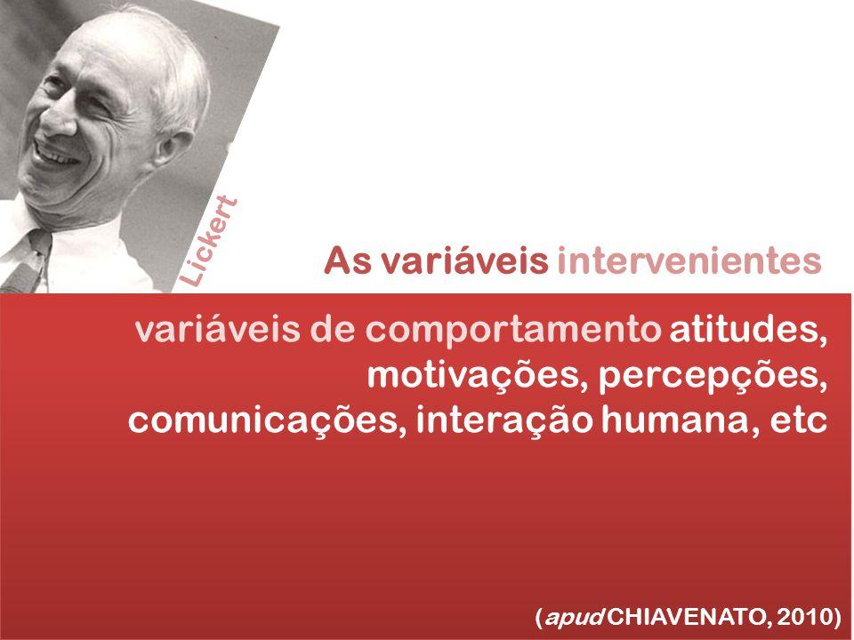 As variáveis intervenientes (apud CHIAVENATO, 2010) variáveis de comportamento atitudes, motivações, percepções, comunicações, interação humana, etc L