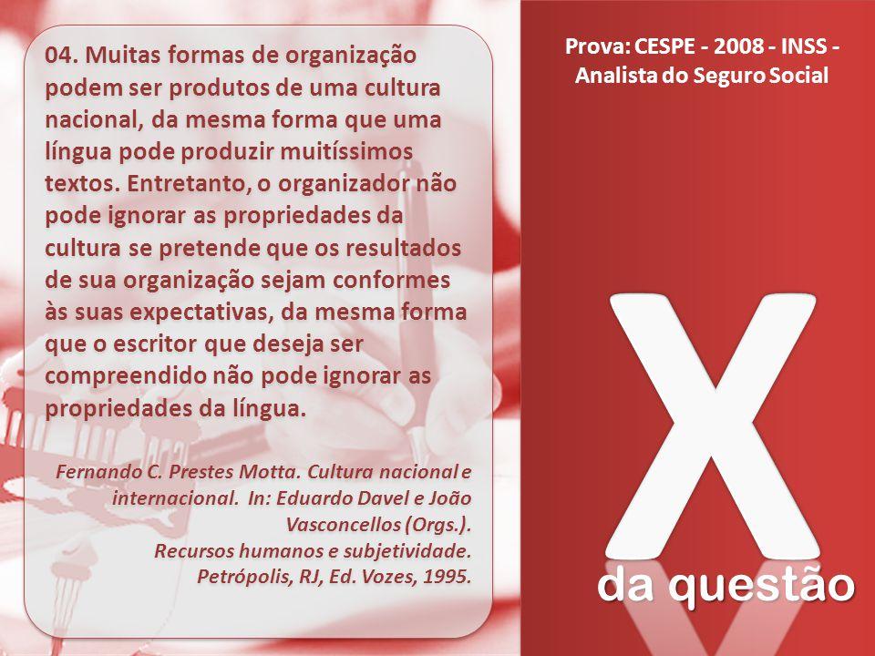 da questão 04. Muitas formas de organização podem ser produtos de uma cultura nacional, da mesma forma que uma língua pode produzir muitíssimos textos
