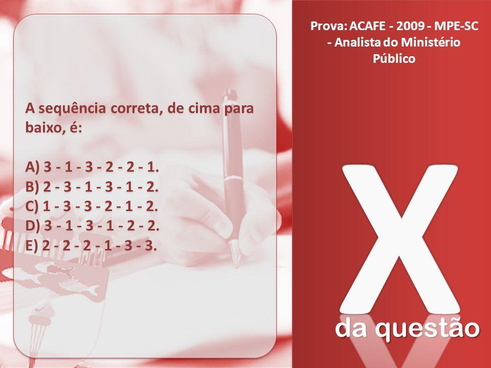 da questão A sequência correta, de cima para baixo, é: A) 3 - 1 - 3 - 2 - 2 - 1. B) 2 - 3 - 1 - 3 - 1 - 2. C) 1 - 3 - 3 - 2 - 1 - 2. D) 3 - 1 - 3 - 1