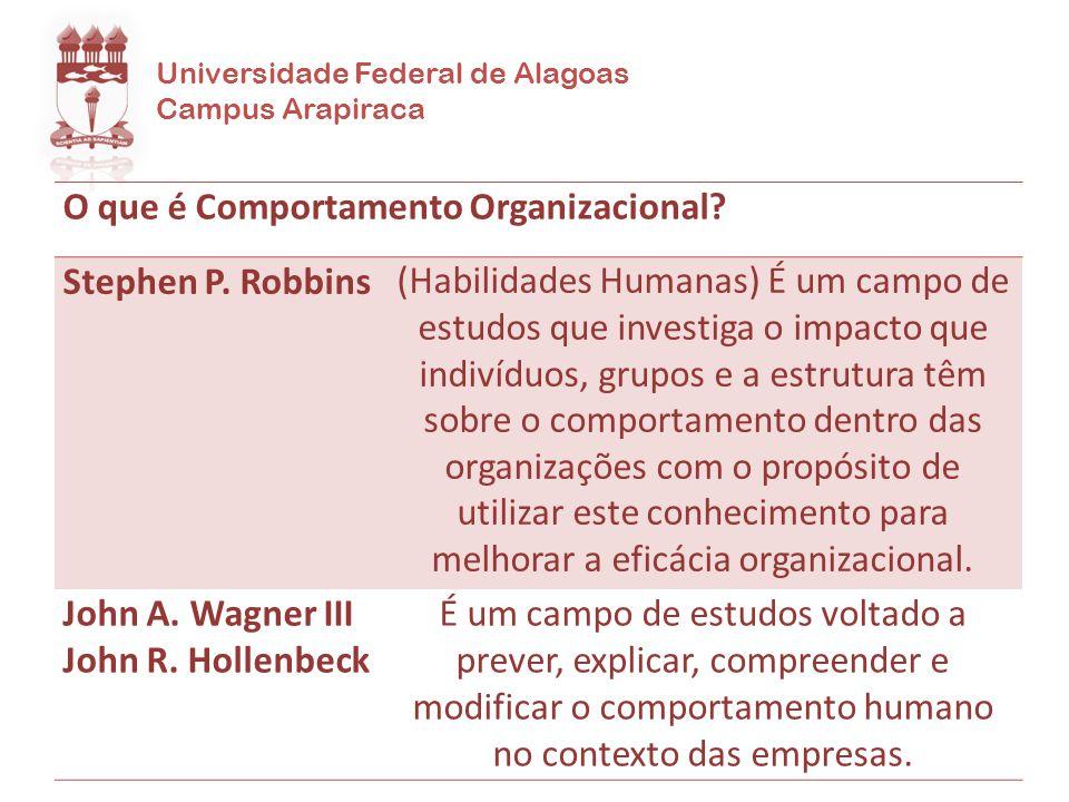 Universidade Federal de Alagoas Campus Arapiraca O que é Comportamento Organizacional? Stephen P. Robbins(Habilidades Humanas) É um campo de estudos q