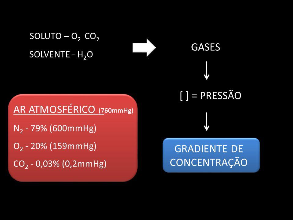SOLUTO – O 2 CO 2 SOLVENTE - H 2 O GASES [ ] = PRESSÃO GRADIENTE DE CONCENTRAÇÃO AR ATMOSFÉRICO (760mmHg) N 2 - 79% (600mmHg) O 2 - 20% (159mmHg) CO 2