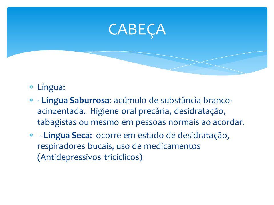 Língua: - Língua Saburrosa: acúmulo de substância branco- acinzentada. Higiene oral precária, desidratação, tabagistas ou mesmo em pessoas normais ao