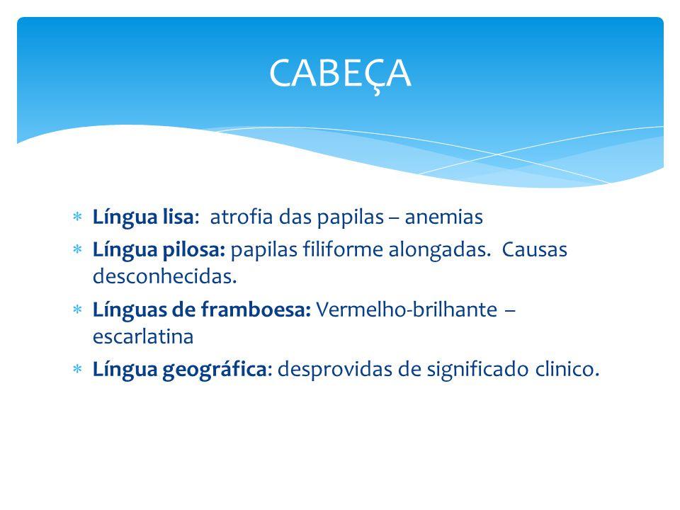 Língua lisa: atrofia das papilas – anemias Língua pilosa: papilas filiforme alongadas. Causas desconhecidas. Línguas de framboesa: Vermelho-brilhante