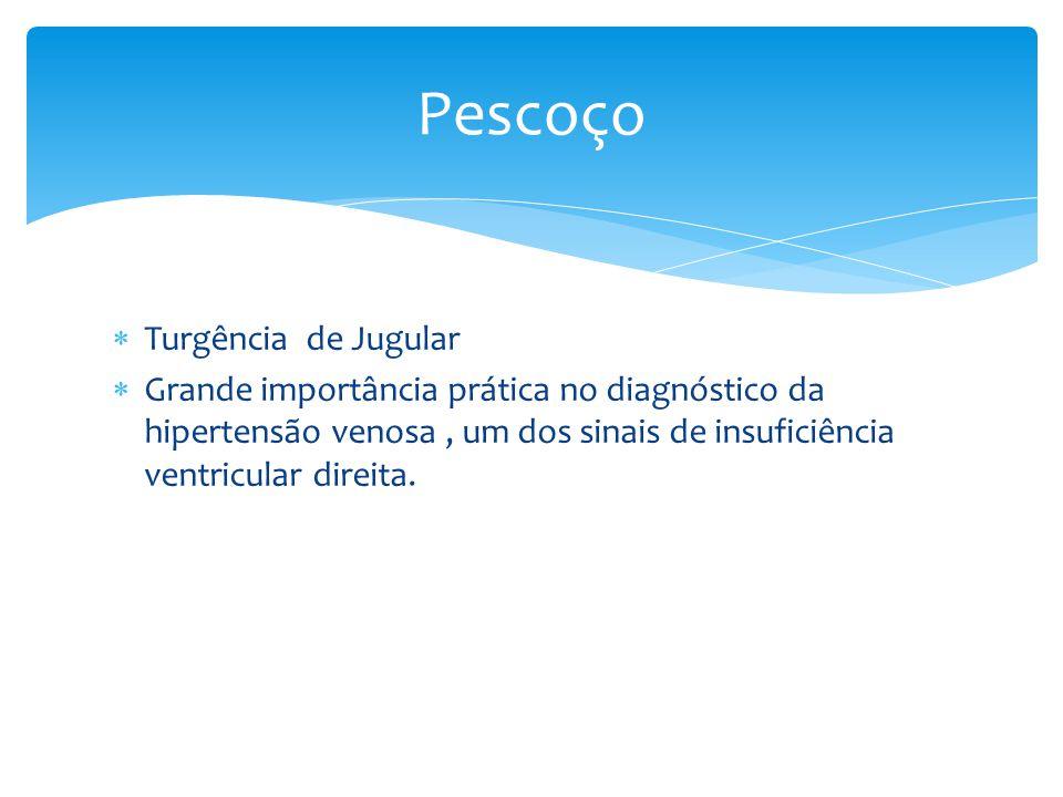 Turgência de Jugular Grande importância prática no diagnóstico da hipertensão venosa, um dos sinais de insuficiência ventricular direita. Pescoço