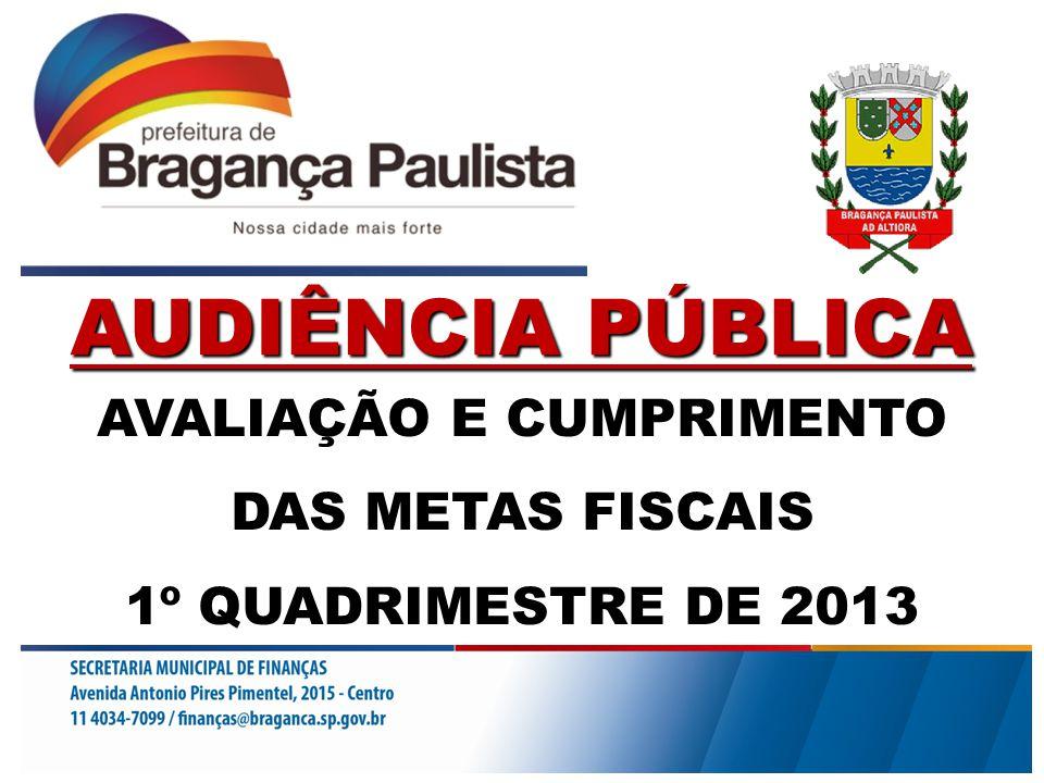 AVALIAÇÃO E CUMPRIMENTO DAS METAS FISCAIS 1º QUADRIMESTRE DE 2013 AUDIÊNCIA PÚBLICA
