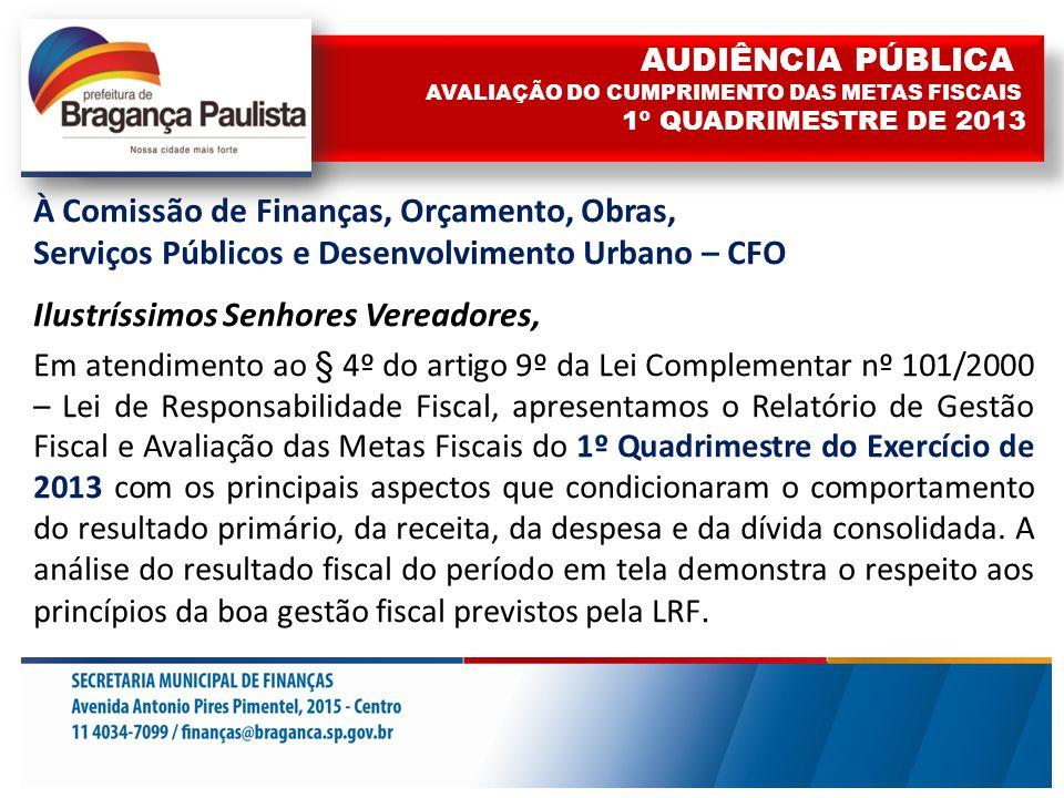 À Comissão de Finanças, Orçamento, Obras, Serviços Públicos e Desenvolvimento Urbano – CFO Ilustríssimos Senhores Vereadores, Em atendimento ao § 4º do artigo 9º da Lei Complementar nº 101/2000 – Lei de Responsabilidade Fiscal, apresentamos o Relatório de Gestão Fiscal e Avaliação das Metas Fiscais do 1º Quadrimestre do Exercício de 2013 com os principais aspectos que condicionaram o comportamento do resultado primário, da receita, da despesa e da dívida consolidada.