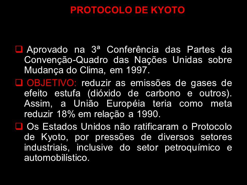 PROTOCOLO DE KYOTO Aprovado na 3ª Conferência das Partes da Convenção-Quadro das Nações Unidas sobre Mudança do Clima, em 1997. OBJETIVO: reduzir as e