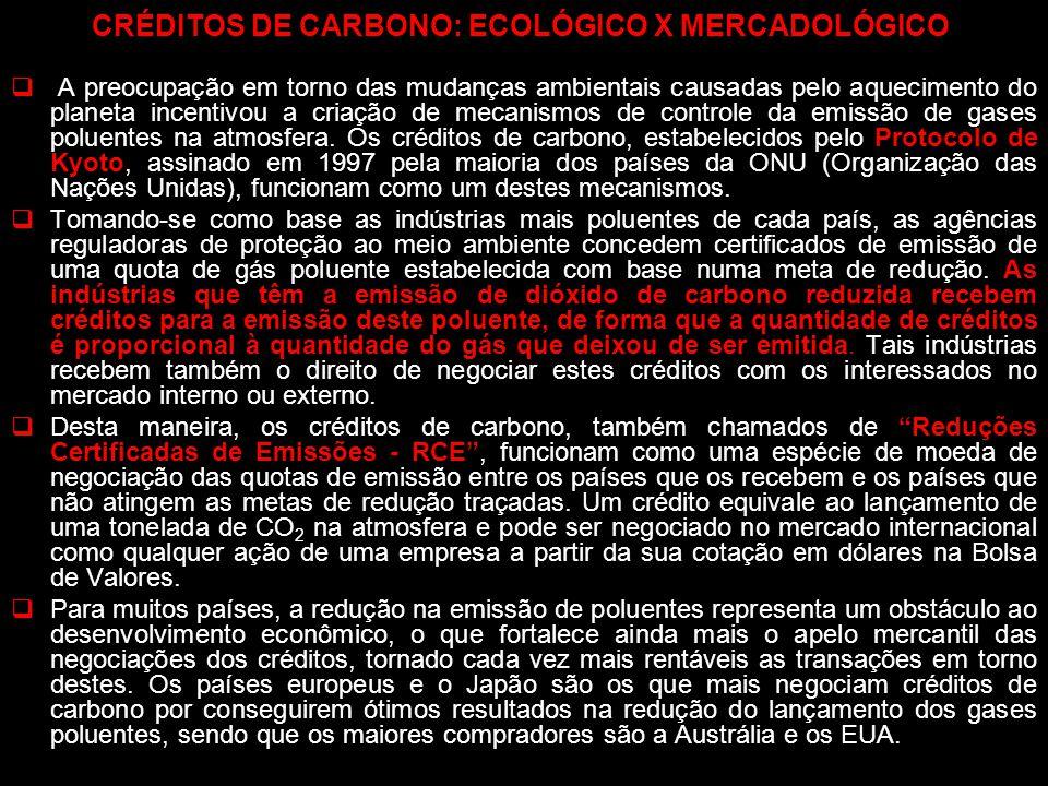 CRÉDITOS DE CARBONO: ECOLÓGICO X MERCADOLÓGICO A preocupação em torno das mudanças ambientais causadas pelo aquecimento do planeta incentivou a criaçã