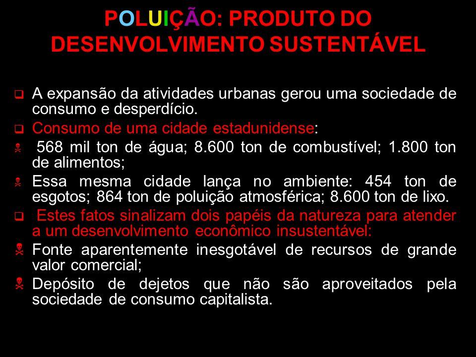 POLUIÇÃO: PRODUTO DO DESENVOLVIMENTO SUSTENTÁVEL A expansão da atividades urbanas gerou uma sociedade de consumo e desperdício. Consumo de uma cidade