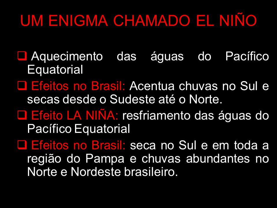 UM ENIGMA CHAMADO EL NIÑO Aquecimento das águas do Pacífico Equatorial Efeitos no Brasil: Acentua chuvas no Sul e secas desde o Sudeste até o Norte. E
