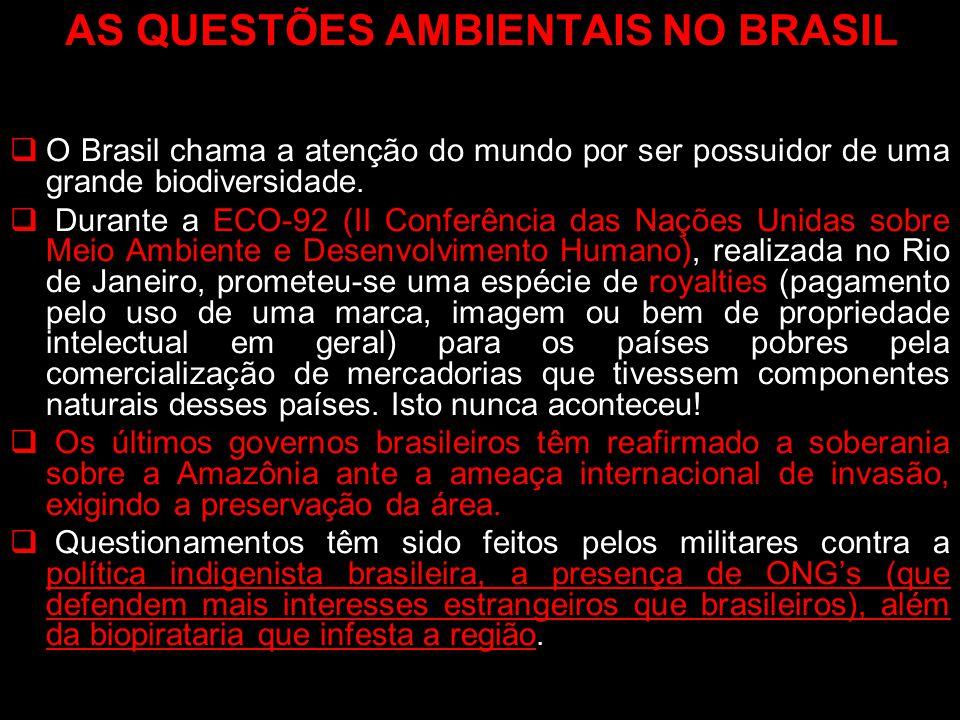 AS QUESTÕES AMBIENTAIS NO BRASIL O Brasil chama a atenção do mundo por ser possuidor de uma grande biodiversidade. Durante a ECO-92 (II Conferência da