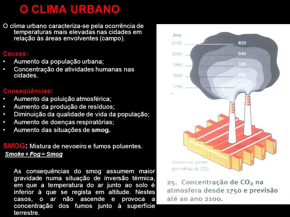 O CLIMA URBANO O clima urbano caracteriza-se pela ocorrência de temperaturas mais elevadas nas cidades em relação às áreas envolventes (campo). Causas