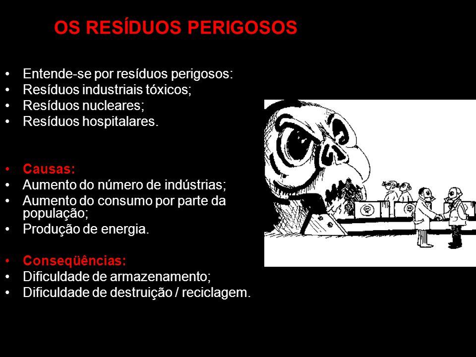 OS RESÍDUOS PERIGOSOS Entende-se por resíduos perigosos: Resíduos industriais tóxicos; Resíduos nucleares; Resíduos hospitalares. Causas: Aumento do n