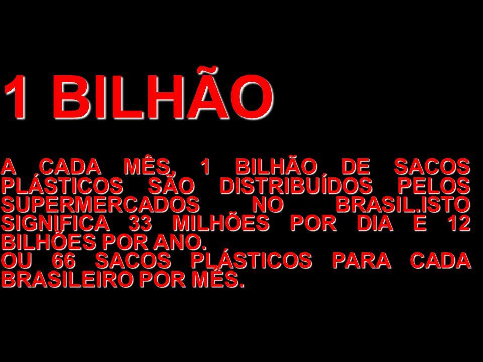 1 BILHÃO A CADA MÊS, 1 BILHÃO DE SACOS PLÁSTICOS SÃO DISTRIBUÍDOS PELOS SUPERMERCADOS NO BRASIL.ISTO SIGNIFICA 33 MILHÕES POR DIA E 12 BILHÕES POR ANO