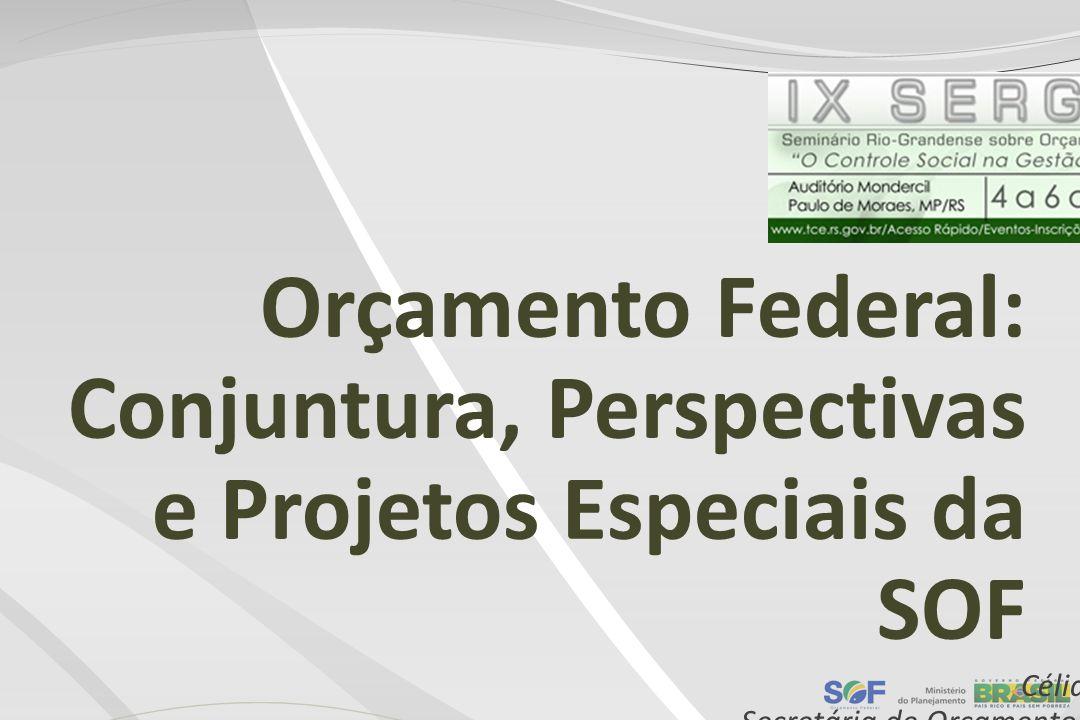 Orçamento Federal: Conjuntura, Perspectivas e Projetos Especiais da SOF Célia Correa Secretária de Orçamento Federal Porto Alegre-RS, 4 de junho de 20