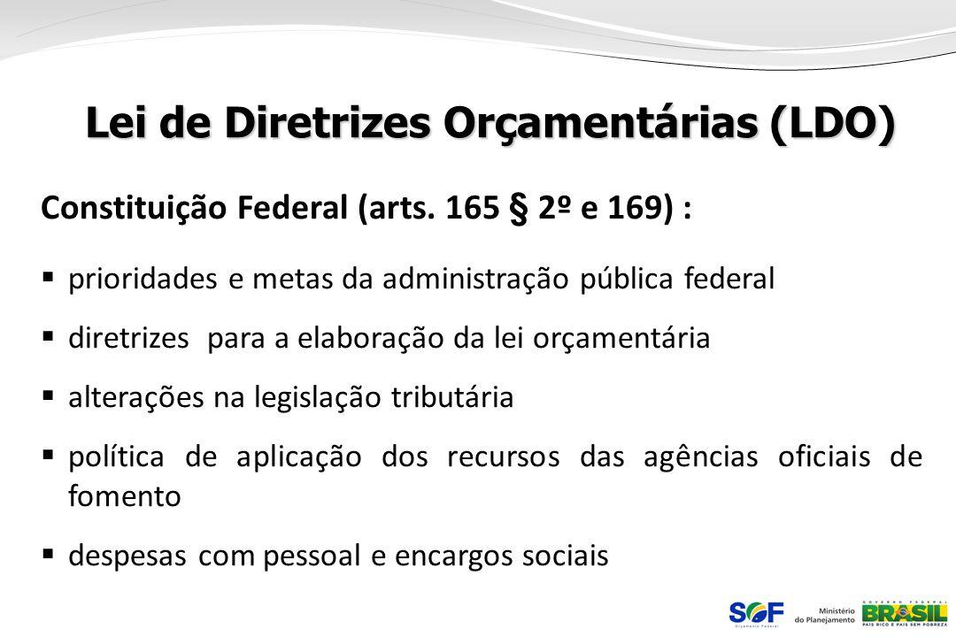 Lei de Diretrizes Orçamentárias (LDO) Constituição Federal (arts. 165 § 2º e 169) : prioridades e metas da administração pública federal diretrizes pa