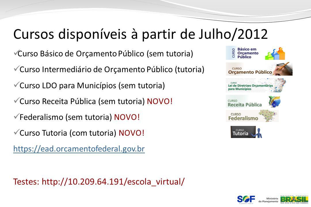 Cursos disponíveis à partir de Julho/2012 Curso Básico de Orçamento Público (sem tutoria) Curso Intermediário de Orçamento Público (tutoria) Curso LDO