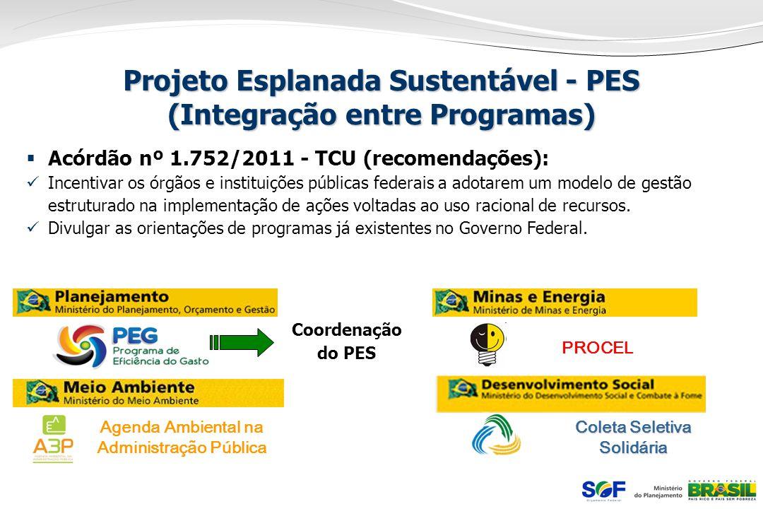 Projeto Esplanada Sustentável - PES (Integração entre Programas) Acórdão nº 1.752/2011 - TCU (recomendações): Incentivar os órgãos e instituições públ