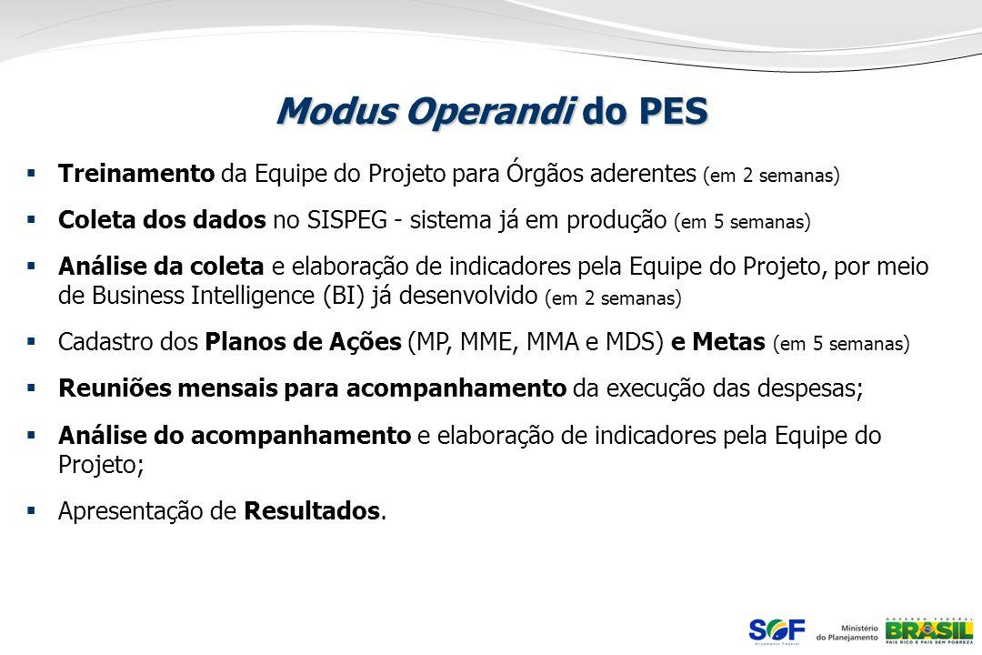 Modus Operandi do PES Treinamento da Equipe do Projeto para Órgãos aderentes (em 2 semanas) Coleta dos dados no SISPEG - sistema já em produção (em 5