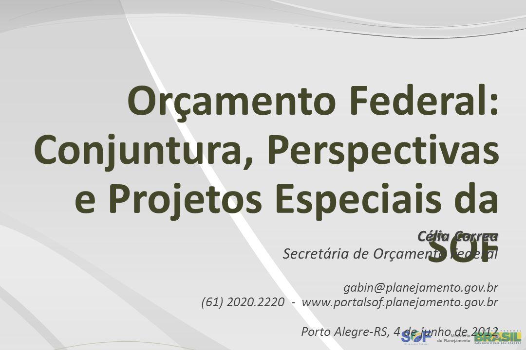 Orçamento Federal: Conjuntura, Perspectivas e Projetos Especiais da SOF Célia Correa Secretária de Orçamento Federal gabin@planejamento.gov.br (61) 20