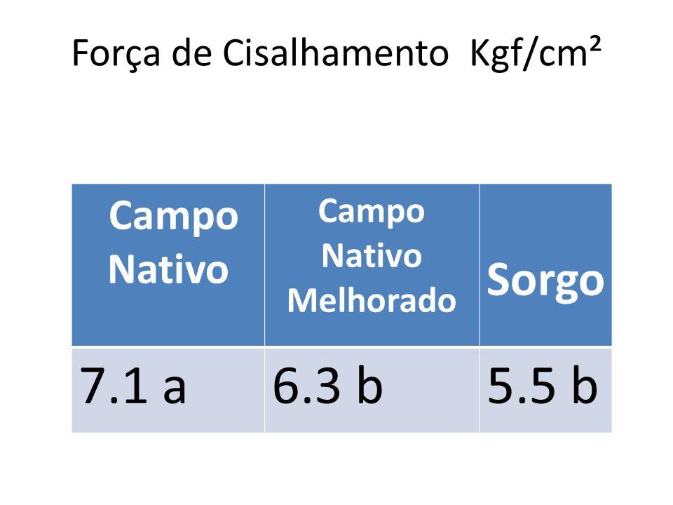 Força de Cisalhamento Kgf/cm² Campo Nativo Melhorado Sorgo 7.1 a6.3 b5.5 b