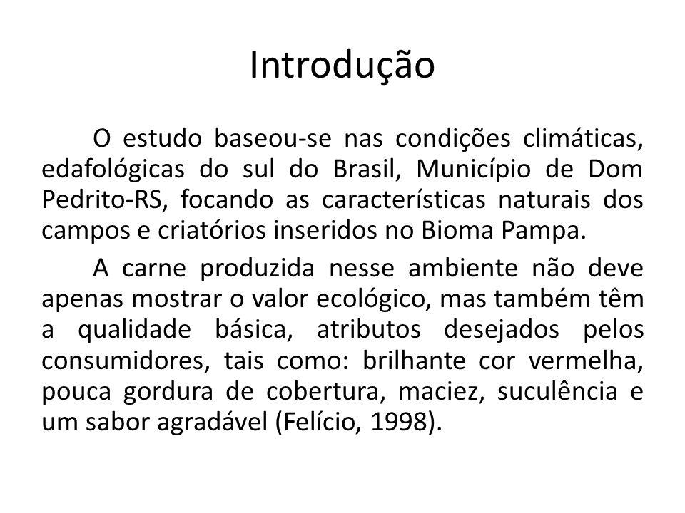 Introdução O estudo baseou-se nas condições climáticas, edafológicas do sul do Brasil, Município de Dom Pedrito-RS, focando as características naturais dos campos e criatórios inseridos no Bioma Pampa.