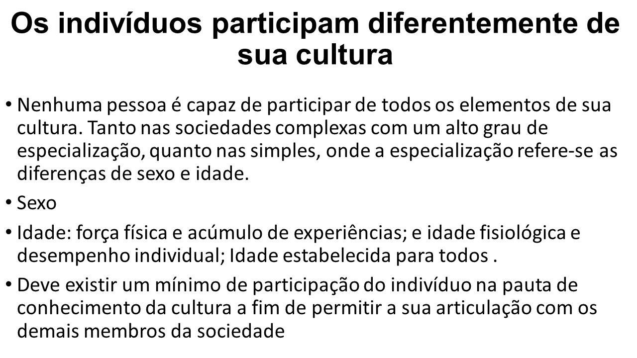 Os indivíduos participam diferentemente de sua cultura Nenhuma pessoa é capaz de participar de todos os elementos de sua cultura. Tanto nas sociedades