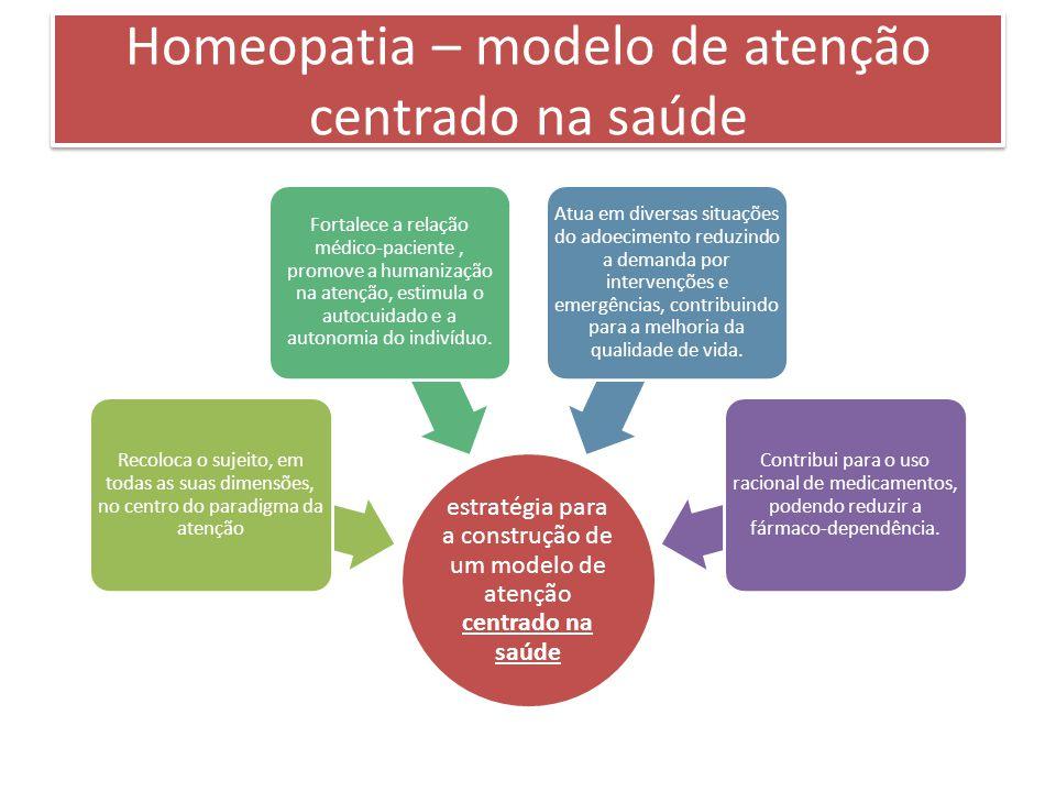 Homeopatia – modelo de atenção centrado na saúde estratégia para a construção de um modelo de atenção centrado na saúde Recoloca o sujeito, em todas as suas dimensões, no centro do paradigma da atenção Fortalece a relação médico-paciente, promove a humanização na atenção, estimula o autocuidado e a autonomia do indivíduo.
