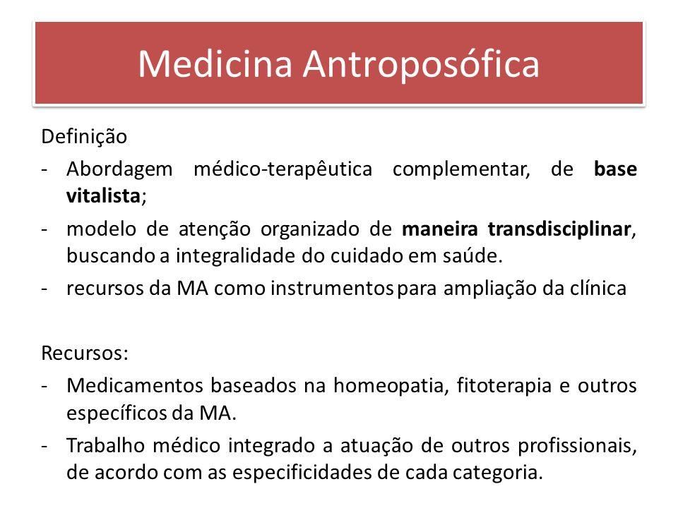 Definição -Abordagem médico-terapêutica complementar, de base vitalista; -modelo de atenção organizado de maneira transdisciplinar, buscando a integra