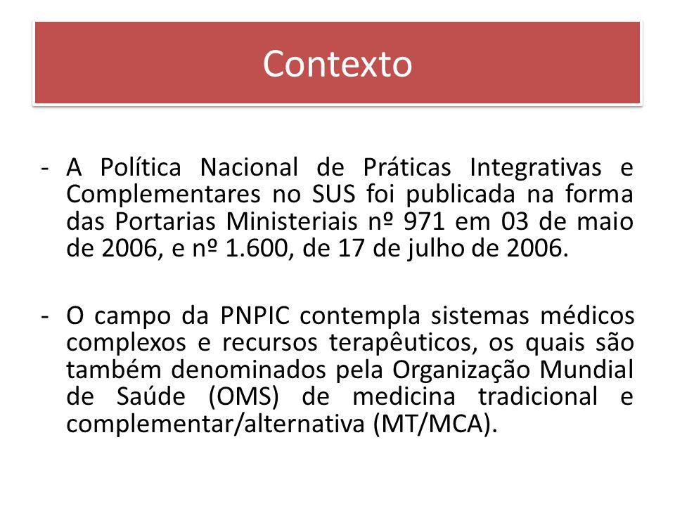 Contexto -A Política Nacional de Práticas Integrativas e Complementares no SUS foi publicada na forma das Portarias Ministeriais nº 971 em 03 de maio de 2006, e nº 1.600, de 17 de julho de 2006.