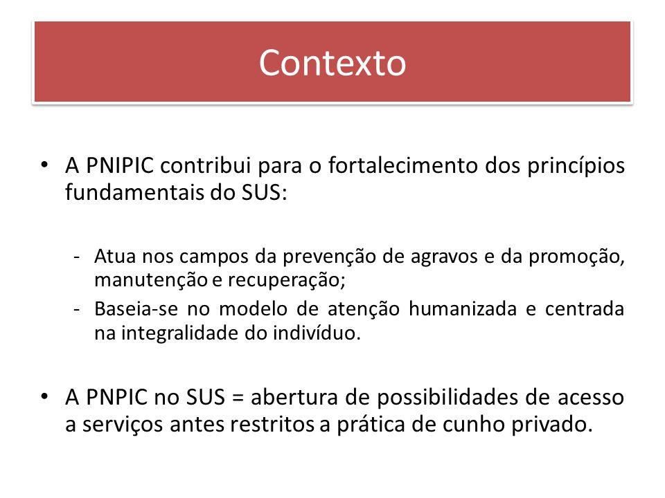 A PNIPIC contribui para o fortalecimento dos princípios fundamentais do SUS: -Atua nos campos da prevenção de agravos e da promoção, manutenção e recu