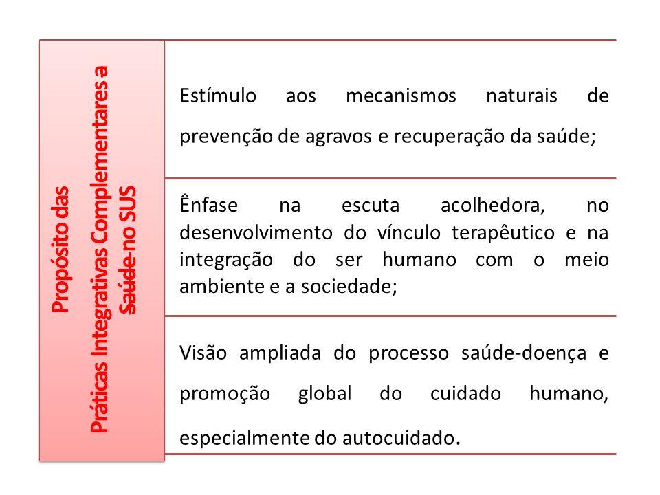 Propósito das Práticas Integrativas Complementares a Saúde no SUS Estímulo aos mecanismos naturais de prevenção de agravos e recuperação da saúde; Ênf