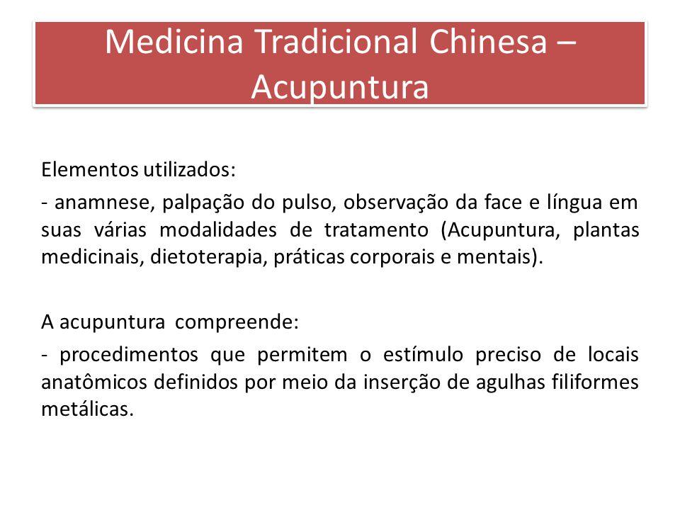 Elementos utilizados: - anamnese, palpação do pulso, observação da face e língua em suas várias modalidades de tratamento (Acupuntura, plantas medicin