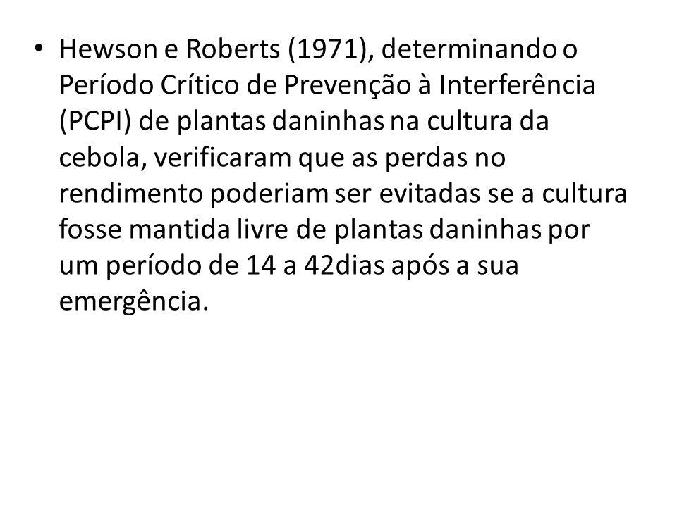 Bond e Burston (1996) em experimentos para determinar o PCPI para a cultivar de cebola White Lisbon numa densidade de 300 plantas.m -2.