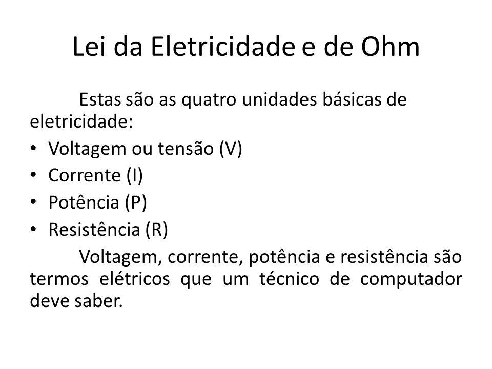 Lei da Eletricidade e de Ohm Estas são as quatro unidades básicas de eletricidade: Voltagem ou tensão (V) Corrente (I) Potência (P) Resistência (R) Vo