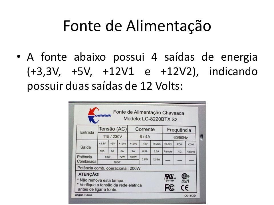 Fonte de Alimentação A fonte abaixo possui 4 saídas de energia (+3,3V, +5V, +12V1 e +12V2), indicando possuir duas saídas de 12 Volts: