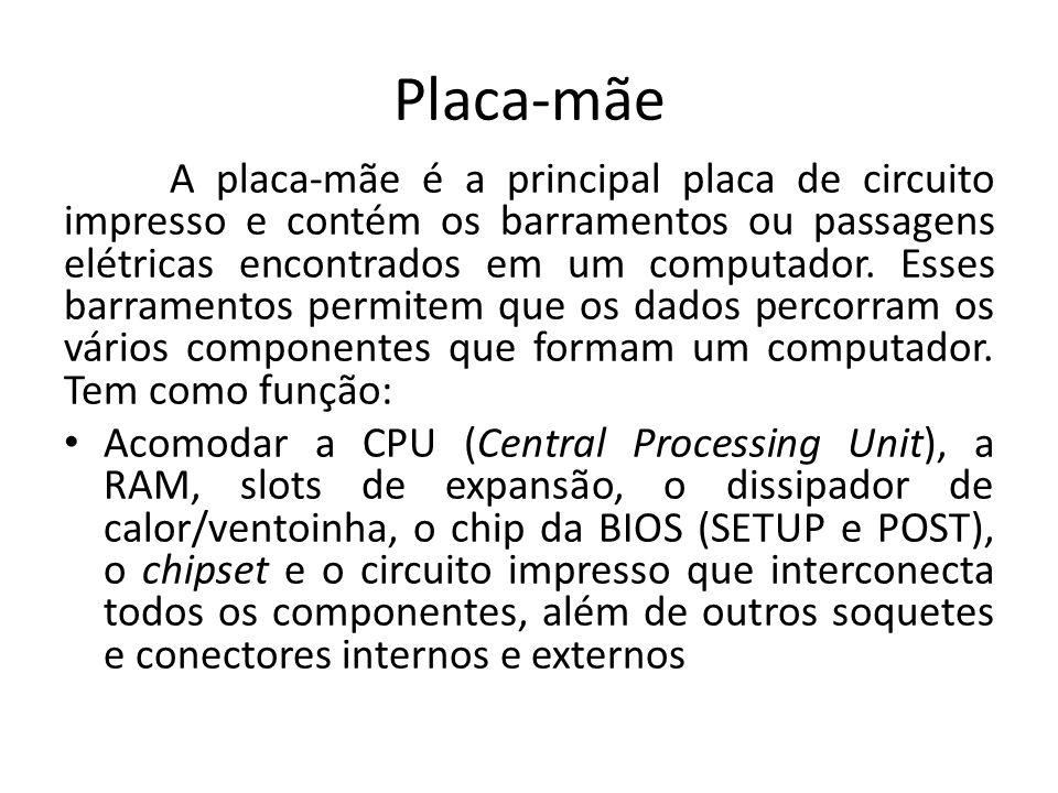 Placa-mãe A placa-mãe é a principal placa de circuito impresso e contém os barramentos ou passagens elétricas encontrados em um computador. Esses barr