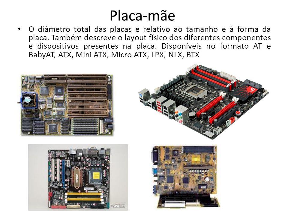 Placa-mãe O diâmetro total das placas é relativo ao tamanho e à forma da placa. Também descreve o layout físico dos diferentes componentes e dispositi